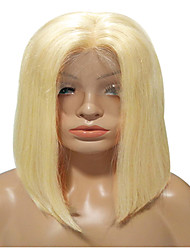 cheap -Remy Human Hair Lace Front Wig Bob Middle Part style Brazilian Hair Straight Blonde Wig 150% Density Women's Short Human Hair Lace Wig beikashang