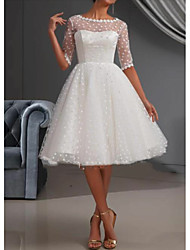 cheap -A-Line Jewel Neck Knee Length Lace / Tulle Short Sleeve Casual / Vintage See-Through / Cute / Illusion Sleeve Wedding Dresses with Draping / Lace Insert 2020