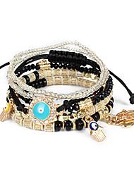 cheap -5pcs Women's Black White Fuchsia Bead Bracelet Vintage Bracelet Earrings / Bracelet Layered Eyes Weave Vintage Ethnic Korean Fashion Boho Stone Bracelet Jewelry Black / Dark Red / White For Daily