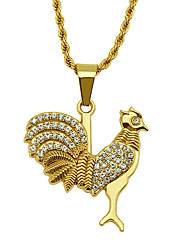 cheap -Men's Pendant Necklace Necklace Long Chicken Vintage Trendy Rock Fashion Chrome Imitation Diamond Gold 75 cm Necklace Jewelry 1pc For Daily Holiday School Street Festival / Long Necklace
