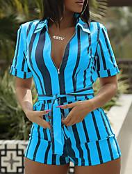 cheap -Women's Street chic Shirt Collar White Yellow Blue Romper, Striped S M L