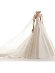 cheap -Ball Gown Strapless Chapel Train Satin Strapless Made-To-Measure Wedding Dresses with Bow(s) / Buttons 2020