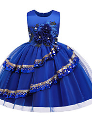 cheap -Princess Knee Length Flower Girl Dress - POLY / Polyester / Cotton Sleeveless Jewel Neck with Butterfly Design / Beading / Appliques