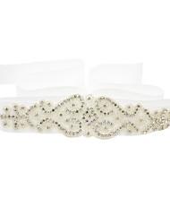 cheap -Beaded / Polyester / Polyamide / Satin Wedding Sash With Faux Pearl / Imitation Pearl / Belt Women's Satin Ribbon / Sashes / Rhinestone Ribbon / Beading