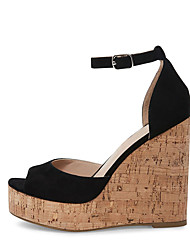 cheap -Women's Sandals Wedge Heel Peep Toe Buckle Suede / Faux Leather Sweet / British Fall / Spring & Summer Black / Nude / Gray