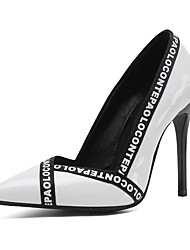 cheap -Women's Heels Stiletto Heel Pointed Toe Stitching Lace PU British / Minimalism Spring & Summer / Fall & Winter Black / White / Red / Color Block / Slogan