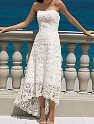 cheap -A-Line Wedding Dresses Strapless Asymmetrical Lace Strapless Beach Illusion Detail with 2020