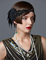 cheap -The Great Gatsby Flapper Headband Roaring 20s / 1920s Women's Black / Pink Rhinestone / Feather Party Prom Cosplay Accessories Masquerade Costumes / Hair Band / Hair Band