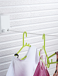 cheap -Bathroom Stainless Steel Invisible Clothesline Punch Free Bathroom Telescopic Wire Rope Drying Rack Hotel Home Wall Mounted Square White Clothes Rack