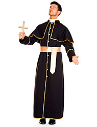 cheap -Pastor Cosplay Costume Masquerade Adults' Men's Cosplay Halloween Halloween Festival / Holiday Cotton Polyster Black Men's Carnival Costumes