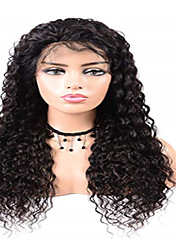 cheap -Remy Human Hair Lace Front Wig Side Part style Brazilian Hair Deep Wave Black Wig 130% Density Women's Medium Length Human Hair Lace Wig beikashang
