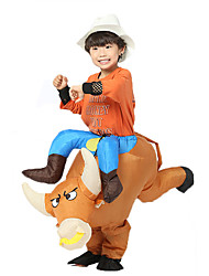 cheap -Cowboy Cosplay Costume Inflatable Costume Kid's Boys' Halloween Halloween Festival / Holiday 100% Polyester Brown Carnival Costumes / Air Blower / Leotard / Onesie / Leotard / Onesie / Air Blower