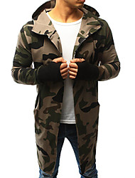 cheap -Men's Daily Basic Spring &  Fall / Fall & Winter Regular Trench Coat, Camo / Camouflage Black & Gray Hooded Long Sleeve Polyester Brown