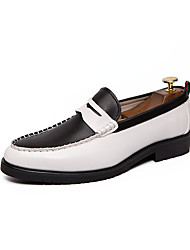cheap -Men's Leather Shoes Nappa Leather Spring & Summer Loafers & Slip-Ons Black / Black and White / Black / White