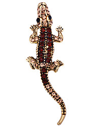 cheap -Men's Crystal Brooches Tennis Chain Dinosaur Animal Classic Basic Punk Rock Fashion Brooch Jewelry Gold Silver For Wedding Party Daily Work Club