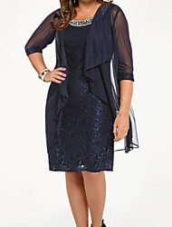cheap -Two Piece / Sheath / Column Scoop Neck Knee Length Chiffon / Lace 3/4 Length Sleeve See Through / Wrap Included Mother of the Bride Dress with Crystals / Pattern / Print 2020