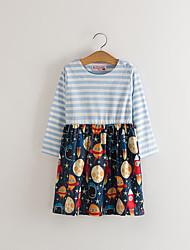 cheap -Kids Toddler Girls' Basic Cute Striped Print Long Sleeve Above Knee Dress Wine
