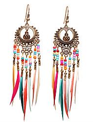 cheap -Women's Drop Earrings Fancy Dream Catcher Ethnic Gypsy Feather Earrings Jewelry Gold / Silver For Club Festival 1 Pair