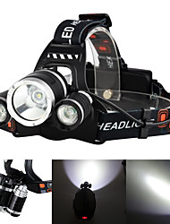 Недорогие -Boruit® RJ-3000 Налобные фонари Фары для велосипеда Перезаряжаемый 3000/5000 lm Светодиодная лампа LED 3 излучатели 4.0 Режим освещения с батарейками и зарядными устройствами / Алюминиевый сплав