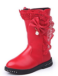 cheap -Girls' Comfort Microfiber Boots Big Kids(7years +) Bowknot Red / Pink / Wine Winter / Mid-Calf Boots