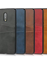 cheap -Case For OnePlus OnePlus 6 / OnePlus 6T / Oneplus 5T Card Holder / Shockproof Back Cover Solid Colored Genuine Leather / TPU Case For One Plus 7 / One Plus 7 Pro