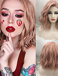 cheap -Synthetic Lace Front Wig Curly / Wavy Rihanna Style Free Part Lace Front Wig Red Rose Gold Synthetic Hair 14inch Women's Soft / Synthetic / Easy dressing Red / Pink Wig Medium Length Cosplay Wig