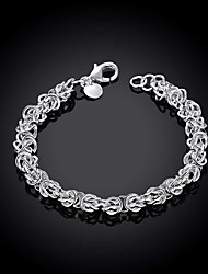 cheap -Men's Chain Bracelet Cut Out Precious Simple Fashion Brass Bracelet Jewelry Silver For Daily Work / Silver Plated