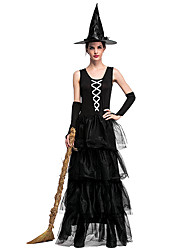 cheap -Witch Cosplay Costume Adults' Women's Halloween Halloween Halloween Festival / Holiday Tulle Polyster Black Women's Carnival Costumes Solid Colored / Dress / Gloves / Hat