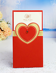 cheap -Wrap & Pocket Wedding Invitations 30pcs - Invitation Cards / Thank You Cards / Response Cards Heart / Fairytale Theme / Floral Style Pearl Paper 21.5*11.5 cm Acrylic Jewels