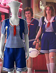 cheap -Stranger Things Movie / TV Theme Costumes Sailor / Navy Outfits Women's Movie Cosplay Leisure Neutral Blue Vest Pants Socks Halloween Masquerade Elastane / T-shirt / Cap