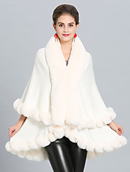 cheap -Sleeveless Coats / Jackets Faux Fur / Imitation Cashmere Wedding / Party / Evening Women's Wrap With Tiered / Splicing