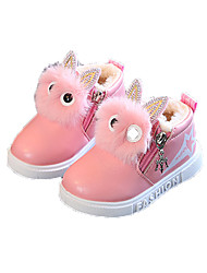 cheap -Girls' Snow Boots PU Boots Little Kids(4-7ys) / Big Kids(7years +) Feather Red / Pink Winter / Booties / Ankle Boots / Color Block / TPR (Thermoplastic Rubber)