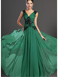 cheap -A-Line Beautiful Back Elegant Formal Evening Dress Plunging Neck Sleeveless Floor Length Cotton with Crystals 2021