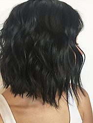 Недорогие -Натуральные волосы Фронтальная часть Парик Свободная часть стиль Индийские волосы Естественные волны Черный Парик 150% Плотность волос / Природные волосы / с детскими волосами / с детскими волосами