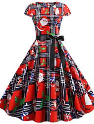 Недорогие -Жен. С летящей юбкой Платье - С короткими рукавами Геометрический принт С принтом Уличный стиль Цвет радуги S M L XL XXL