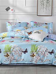 abordables -Bleu clair Géométrique / Floral / Botanique Polyester / Coton Imprimé 1 PièceBedding Sets