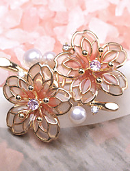cheap -Women's Freshwater Pearl Brooches Hollow Out Flower Petal Flower Shape Korean Cute Elegant Pearl Gold Plated Brooch Jewelry Light Pink For Party Gift Daily Holiday Festival