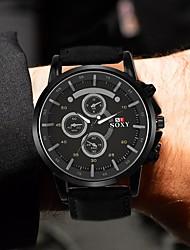 Недорогие -Муж. Спортивные часы Кварцевый Кожа Черный / Золотистый Повседневные часы Аналоговый Мода - Черный Коричневый Один год Срок службы батареи