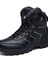 cheap -Men's Snow Boots Microfiber Winter Casual Boots Hiking Shoes / Walking Shoes Warm Black / Brown / Outdoor
