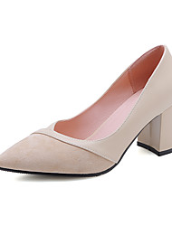 cheap -Women's Heels Chunky Heel Pointed Toe PU Classic / Minimalism Spring & Summer Black / Beige