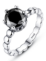 cheap -Silver Ring with Black Cubic Zirconia Female Fashion Ring Wedding Jewelry