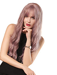 cheap -Synthetic Wig Bangs Curly Water Wave Neat Bang With Bangs Wig Long Pink / Purple Synthetic Hair 26 inch Women's Cosplay Women Synthetic Purple HAIR CUBE