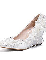 cheap -Women's Wedding Shoes Wedge Heel Pointed Toe Satin Flower Lace / PU Sweet / Minimalism Spring &  Fall / Spring & Summer White / Pink / Party & Evening
