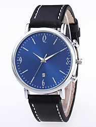 cheap -Men's Dress Watch Quartz Leather Black / Brown No Calendar / date / day Chronograph Cute Analog New Arrival Minimalist - Black Black / White Black / Blue One Year Battery Life