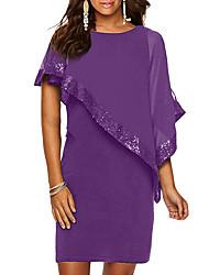cheap -Women's Basic Sheath Dress - Solid Colored Sequins Yellow Fuchsia Wine XXXL XXXXL XXXXXL