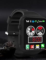 cheap -Men's Digital Watch Quartz Modern Style Stylish Silicone Black / White / Blue 30 m Water Resistant / Waterproof Calendar / date / day Stopwatch Analog Casual Fashion - Black Green White One Year