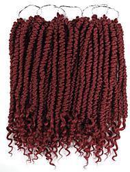 """cheap -Braiding Hair Curly Twist Braids Synthetic Hair 100% kanekalon hair 1 Piece Hair Braids Black 12"""" Women Ombre Braiding Hair 100% kanekalon hair Casual African Braids"""
