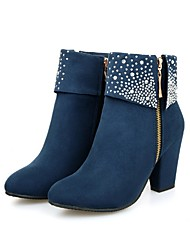 cheap -Women's Boots Chunky Heel Round Toe Suede Mid-Calf Boots Fall & Winter Black / Red / Blue