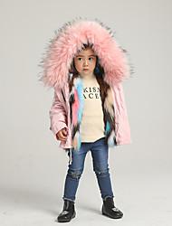 abordables -Enfants Fille Basique Couleur Pleine Arc-en-ciel Normal Veste & Manteau Rose Claire