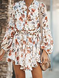 cheap -Women's Mini A Line Dress - Floral V Neck White S M L XL